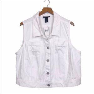 LANE BRYANT White Jean Vest Jacket Stretchy 20W
